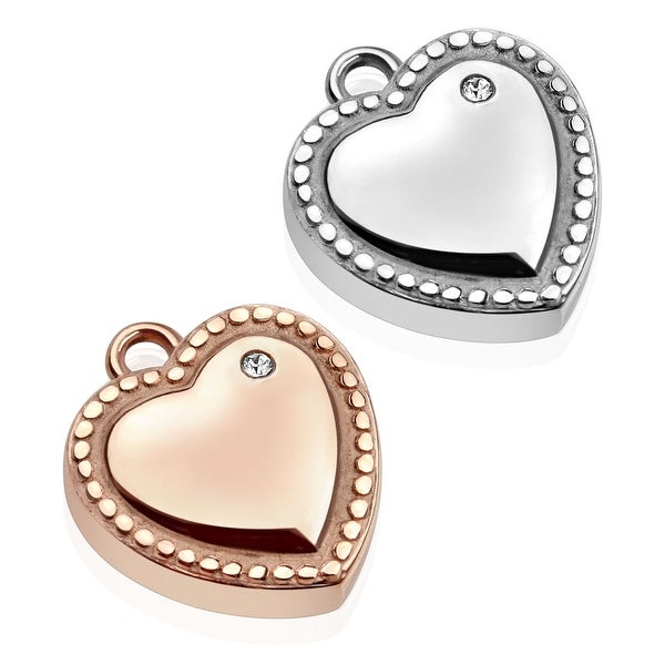 Single CZ Heart with Dotted Edge Stainless Steel Pendant (18 mm Width)