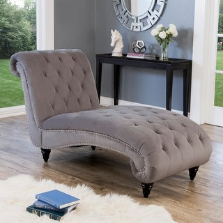 Link to Abbyson Felice Grey Tufted Velvet Chaise Similar Items in As Is