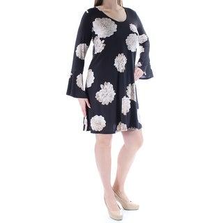 KAREN KANE $129 Womens New 1436 Black Floral Bell Sleeve Sheath Dress L B+B