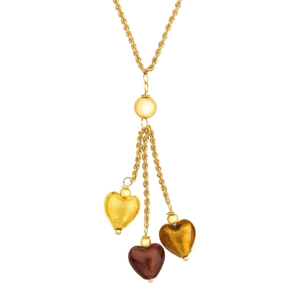 Glass Hearts Lariat Necklace in 14K Gold-Bonded Sterling Silver - brown