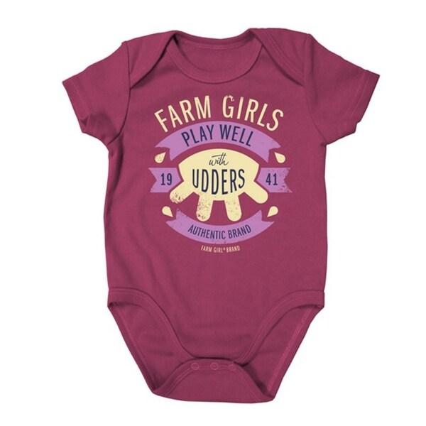 Farm Girl Western Shirt Girl Plays Udders S/S Romper Pink