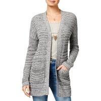 Say What? Womens Juniors Cardigan Sweater Open Front Marled