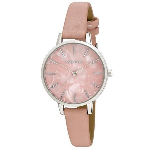Vernier Womens Case Marble Dial Strap Watch