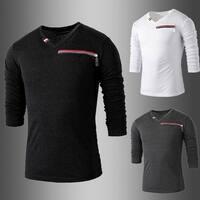 Spring Summer Men's Simple Leisure Dress Shirts V-Neck T Shirts
