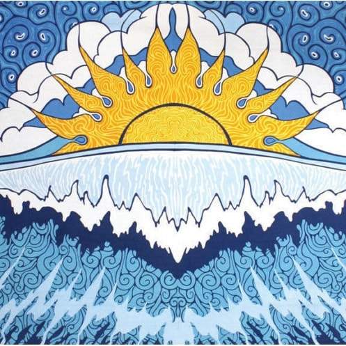 Handmade 100% Cotton Sun Wave Surf Tapestry Tablecloth Spread Twin 60x90 Small 30x45 Dorm Beach