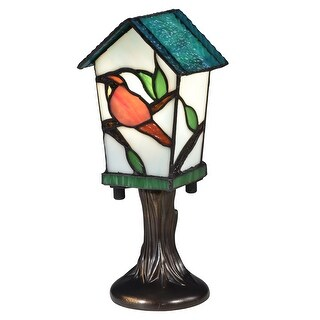 "10"" Vibrantly Colored Bird House Tiffany Accent Lamp - Brown"