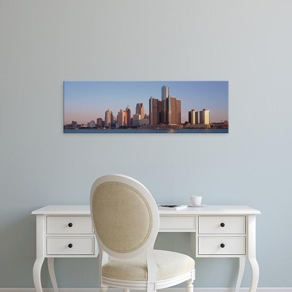 Easy Art Prints Panoramic Images's 'Buildings in a city, Detroit, Michigan, USA' Premium Canvas Art
