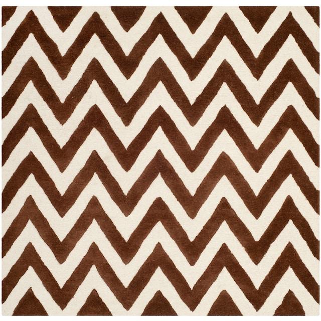 SAFAVIEH Handmade Cambridge Rinda Modern Moroccan Wool Rug - 6' x 6' Square - Dark Brown/Ivory