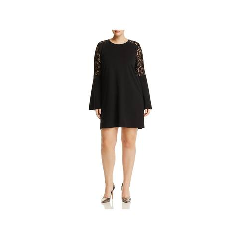 Love Ady Womens Plus Cocktail Dress Lace Bell Sleeve - 0X