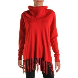MICHAEL Michael Kors Womens Knit Fringe Pullover Sweater
