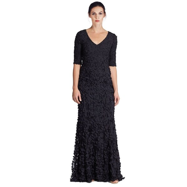 Theia Petal Elbow Sleeve V-Neck Evening Gown Dress Midnight