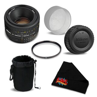 Nikon AF NIKKOR 50mm f/1.8D Lens (2137) - Essentials Bundle International Version (No Warranty)