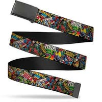 Marvel Comics Blank Black Buckle Retro Marvel Comic Books Stacked Web Belt