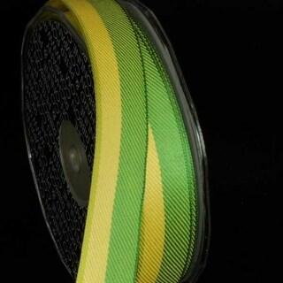 "Green Diagonal Stripe Wired Craft Ribbon .875"" x 108 Yards"