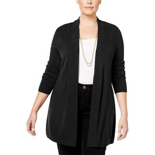 Karen Scott Womens Plus Cardigan Sweater Long Sleeve Open Front