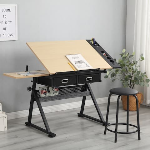 Moda Adjustable Wood Drafting Desk with 2 drawers for Home Office and School