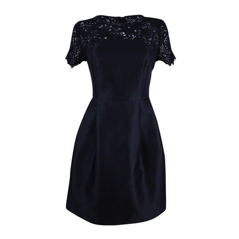 Jessica Simpson Women's Embellished Lace-Yoke Fit & Flare Dress - Black