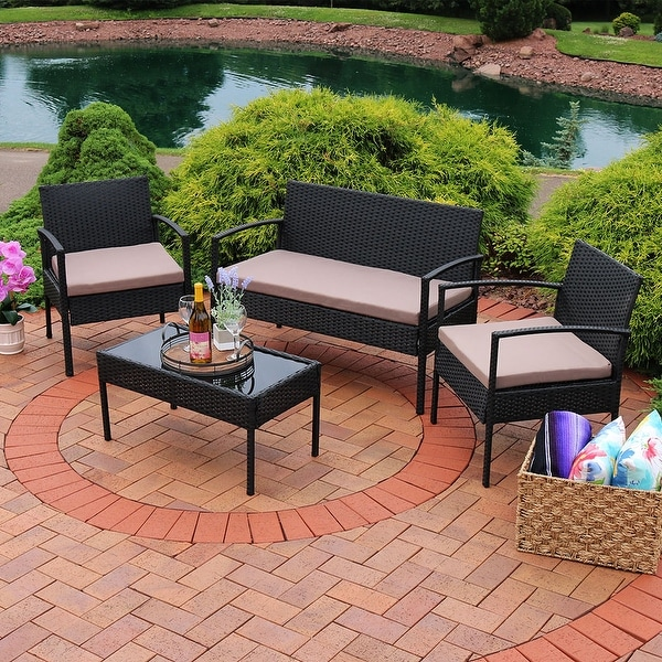 Sunnydaze Anadia 4 PC Lounger Set with Black Wicker - Cushions - Multiple Colors