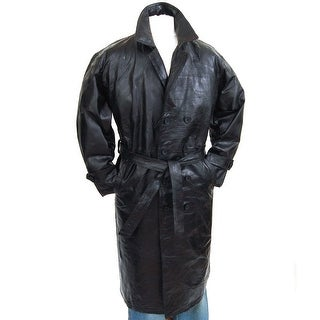 Link to Mens Genuine Leather Double Breasted Trench Coat Full Length Blazer - Black Similar Items in Men's Outerwear