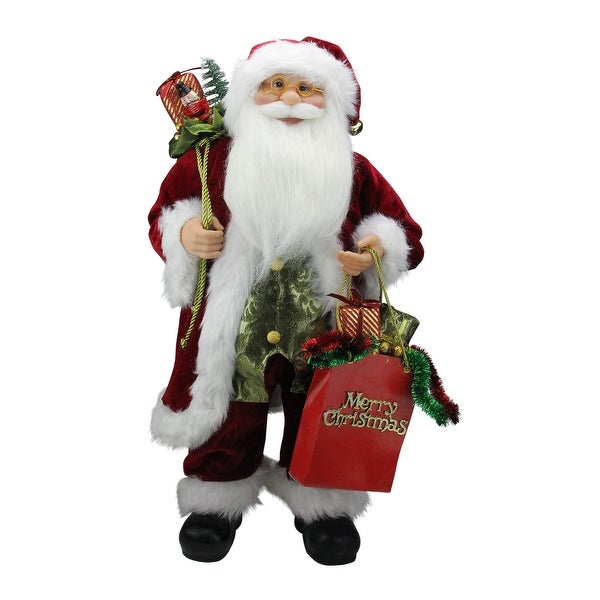"""24"""" Standing Santa Claus Figure with """"Merry Christmas"""" Gift Bag - RED"""