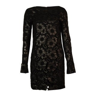French Connection Women's Faux Leather Lace Cotton Dress - Black