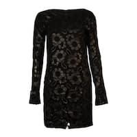 French Connection Women's Faux Leather Lace Cotton Dress - Black - 0