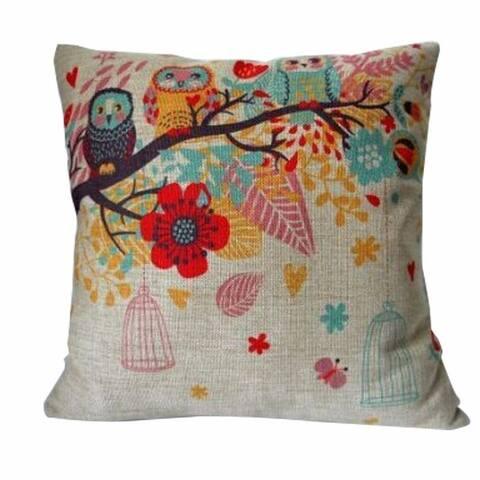Vintage Home Decor Cotton Linen Pillow Case #20 Owls