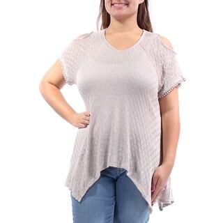 Womens Beige Short Sleeve V Neck Handkerchief Sweater Size XL