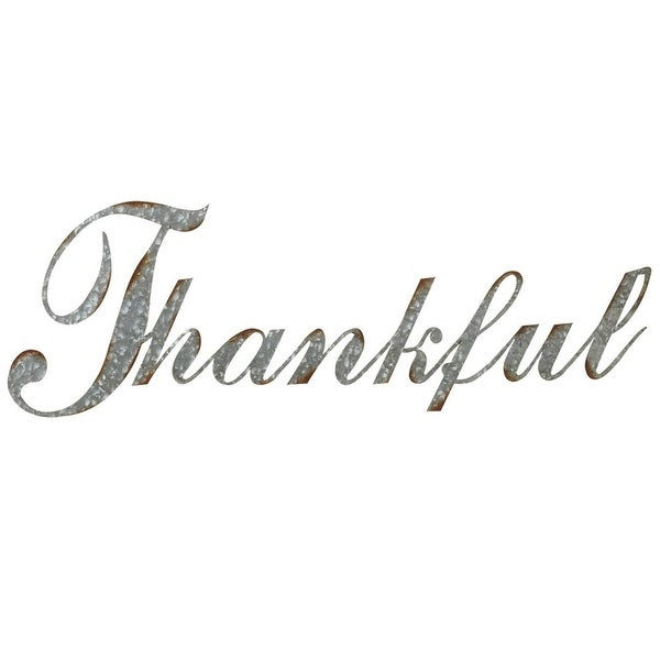 "Set of 2 Gray and Brown Galvanized Rustic Finished ""Thankful"" Wall Decor 40.25"""