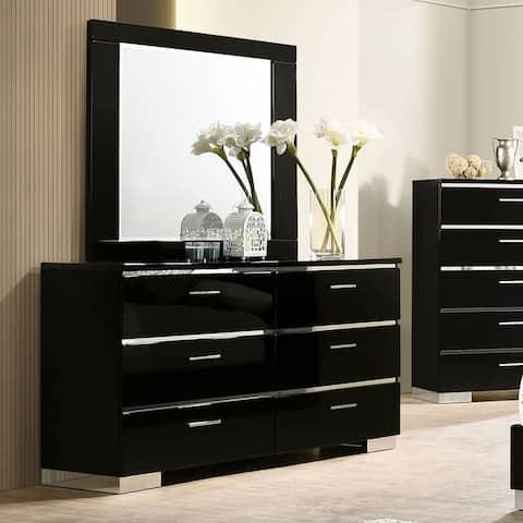 Furniture of America Lofa Contemporary Black Dresser and Mirror Set