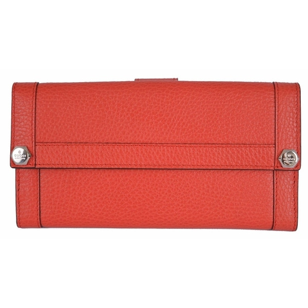 Gucci 231839 Coral Red Leather Plaque Logo Continental Wallet Clutch
