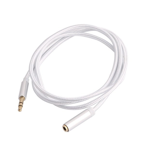 3.3ft Nylon 3.5mm Stereo Audio Aux Male to Female Extension Cable Silver Tone