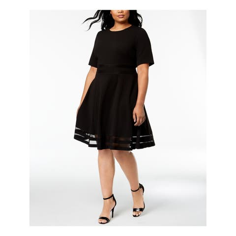 CALVIN KLEIN Womens Black Illusion Inset Short Sleeve Jewel Neck Knee Length Fit + Flare Party Dress Plus Size: 16W