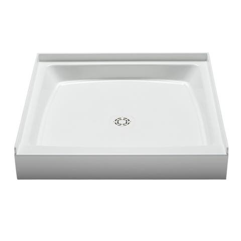 "PROFLO PFSB3434 Single Curb Rectangular Shower Pan (34"" X 34"") - For Alcove Installation - White"