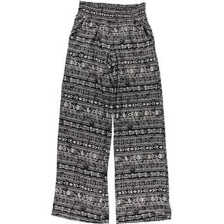 Love Fire Womens Juniors Printed Smocked Waist Wide Leg Pants - XS