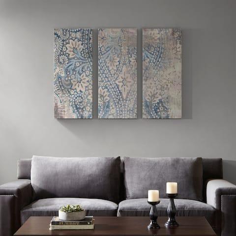 Madison Park Weathered Damask Walls Blue Printed Linen 3 Piece Set