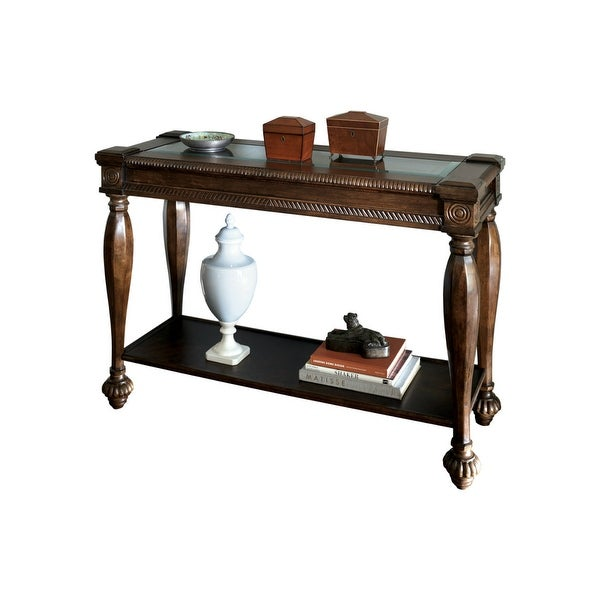Ashley T616 4 Mantera Dark Rustic Brown Sofa Table W Beveled Gl Tabletops