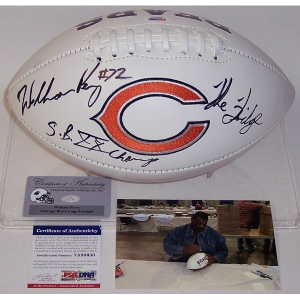 William Perry Autographed Hand Chicago Bears Logo Football PSADNA