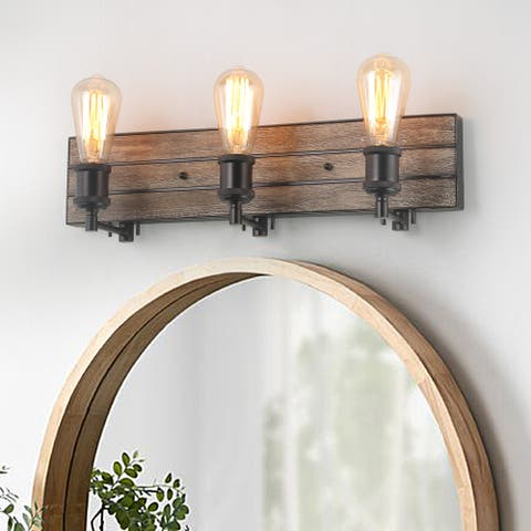 Carbon Loft Astrid 3-light Wall Lamps Wood Wall Sconces Bronze Indoor Wall Lighting Fixture for Kitchen,Bathroom