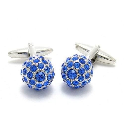 Shop Swarovski Elements Sapphire Blue Ball Cufflinks - On Sale - Free  Shipping On Orders Over  45 - Overstock - 12220605 9c8ca270b595