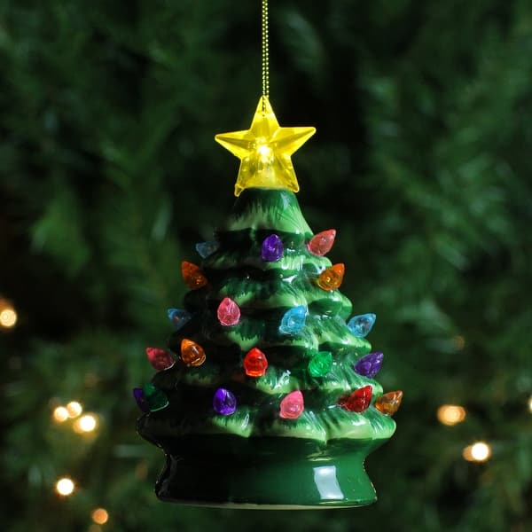 Lighted Ceramic Nostalgic Tree Ornament