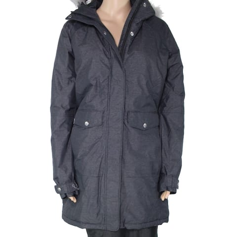 Columbia Women Jacket Gray Size Medium M Full Button Zip Faux Fur Hood