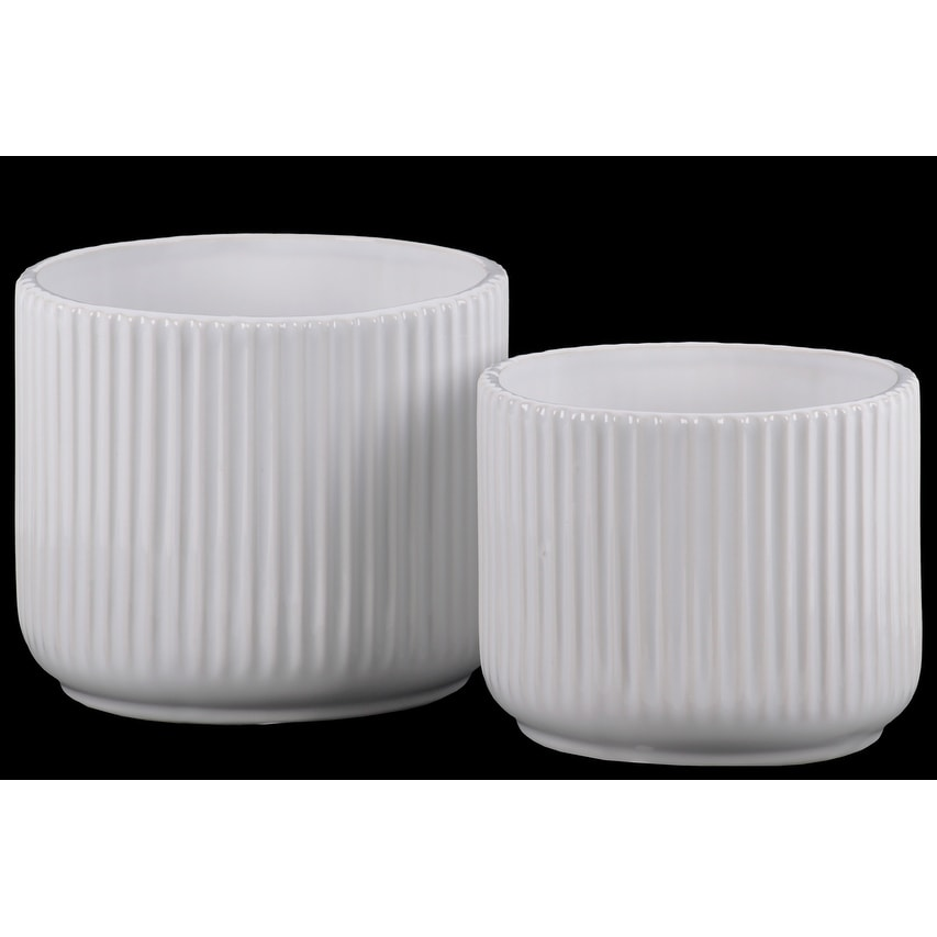 Ribbed Patterned Ceramic Pot With  Tapered Bottom, Glossy White, Set of 2