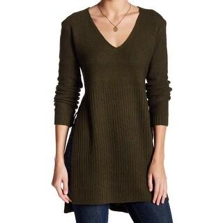 ASTR NEW Green Women's Size Medium M V-Neck Tunic High Low Sweater