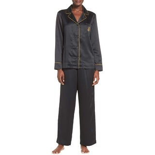 Lauren Ralph Lauren Womens Notch Collar Satin Pajama Set X-Large XL Blackl PJs
