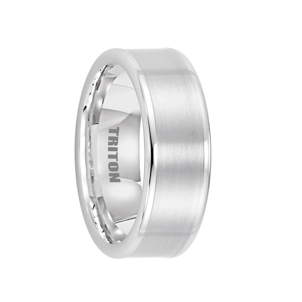 ABRAMS Flat White Tungsten Wedding Band with Brushed Center by Triton Rings - 8mm