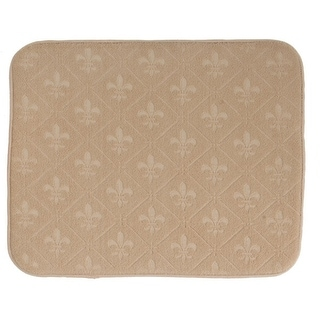 Elegant Fleur de Lis Tan Embossed Kitchen Countertop Drying Mat