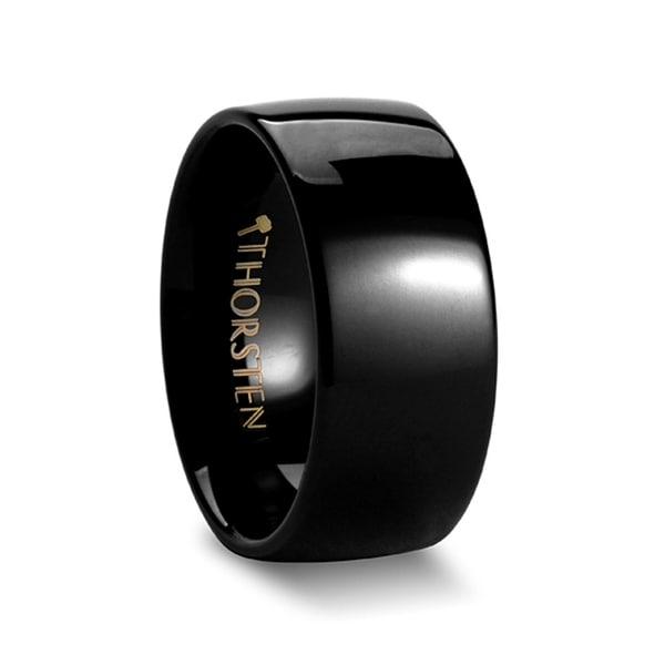 THORSTEN - CORVUS Domed 10mm Black Tungsten Wedding Band