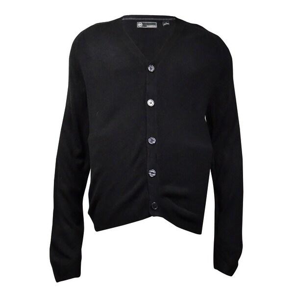 Weatherproof Men's Soft Touch Cardigan Sweater (Black, L)