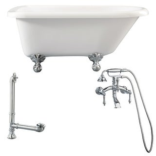 """Giagni LA1 Augusta 54-3/10"""" Free Standing Soaking Tub Package - Includes Tub, Tub Feet, Wall Mounted Tub Filler Faucet, and"""